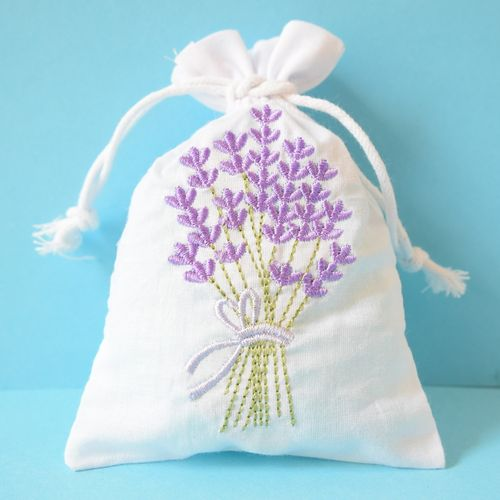 Lavender bag embroidered, filled
