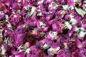 Dried rose buds and petals burgundy