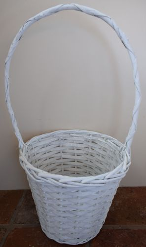 Natural basket round white