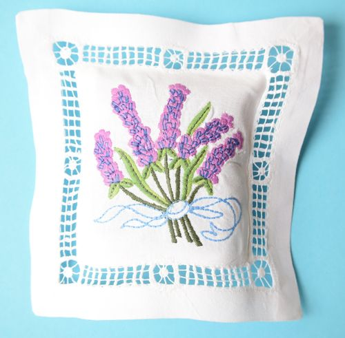 Lavender cushion 15cm embroidered