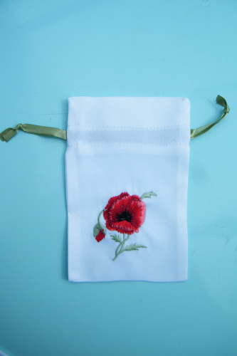 Embroidered gift bag Poppy empty x10 - Offer!