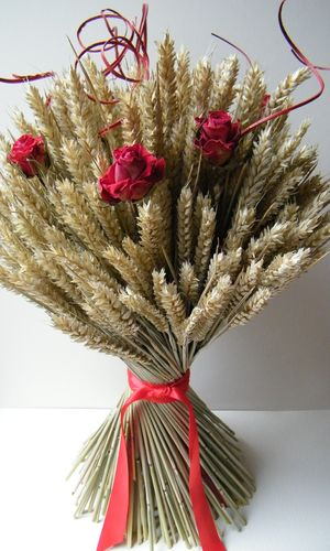 Red rose wheat sheaf (2 weeks)