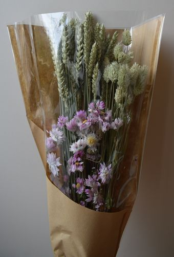 Mixed dried flower bouquet with pink rhodanthus