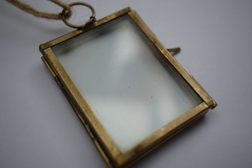 Mini hanging pressed flower frame empty brass colour