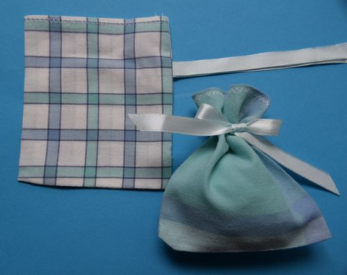 Handmade vintage check gift bag empty 10cm