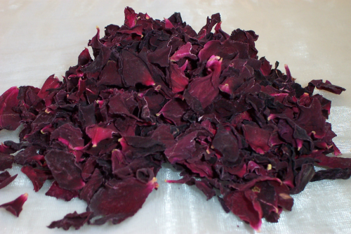 Medium rose petals, purple velvet