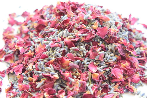 Burgundy petal and lavender mix - dried flower confetti