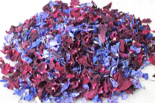 Indigo delphinium & purple rose throwing confetti mix - litre