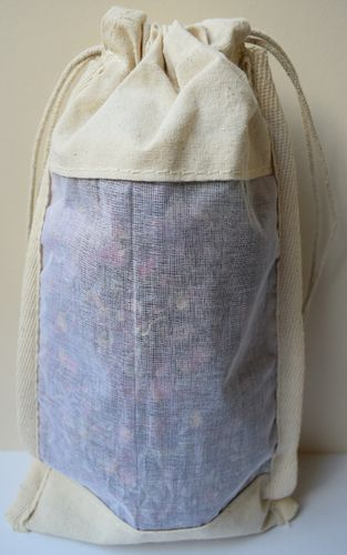 Cotton drawstring bag with muslin window 26cm empty