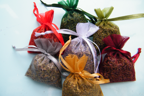 Lavender bag mini organza filled Christmas colours