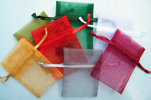 Mini organza bags empty, Christmas