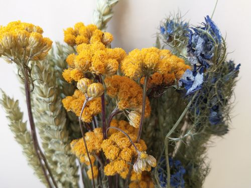 Yellow and blue small dried flower bouquet