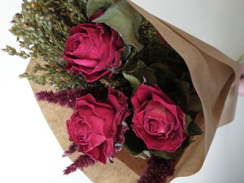 Red roses mixed dried flower bouquet small