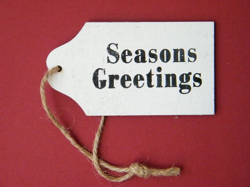 Wood seasons greetings tag