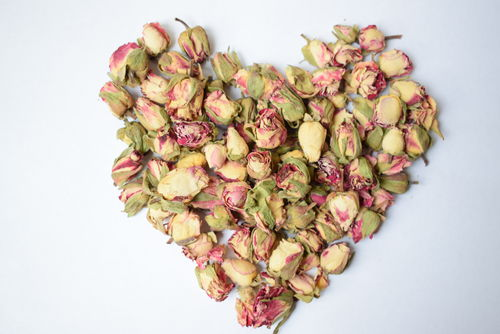 Red edge rose buds dried