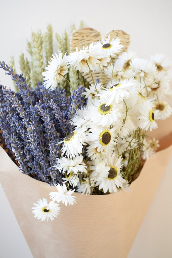 Large Mixed Dried Flower Bouquet Blue And White Daisyshop