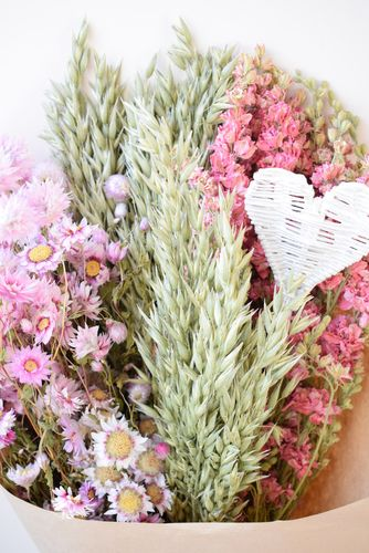 Large mixed dried flower bouquet pink