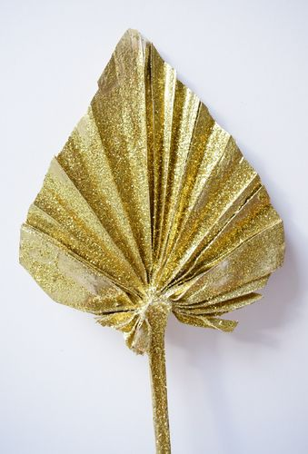Palm spear gold stem handmade dried leaf