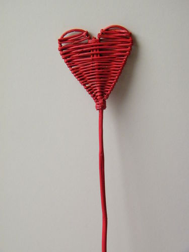 Heart pick wicker red - heart stick 20 pack