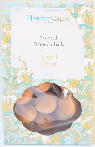 Natural Cotton scented wooden balls gift pack