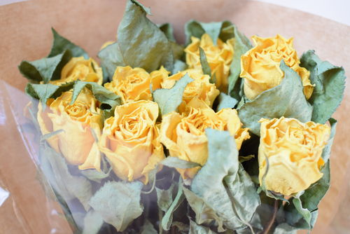 Yellow roses dried flower bouquet