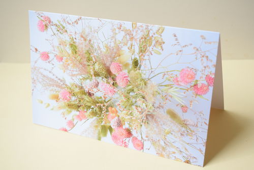Greetings card blank - Pink dried flowers